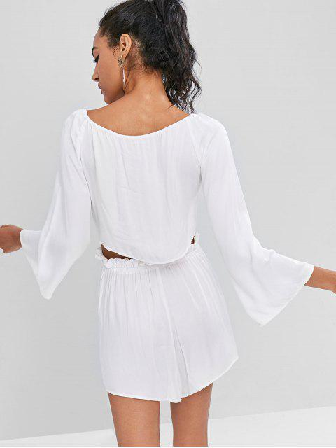 women Bell Sleeve Crop Top and Shorts Co Ord Set - MILK WHITE S Mobile