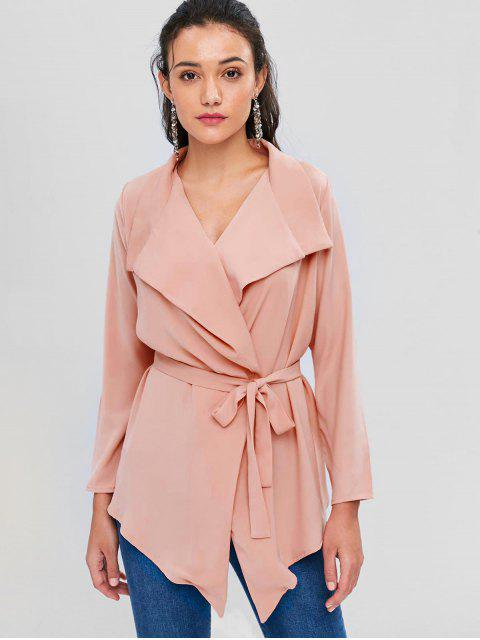 hot Waterfall Shawl Collar Cropped Trench Coat - ORANGE PINK M Mobile