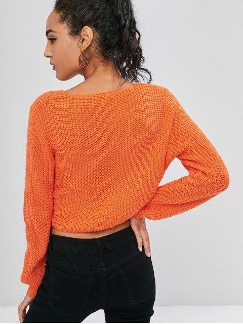 lady Wrap Tie Up Cropped Neon Sweater - BRIGHT ORANGE L Mobile