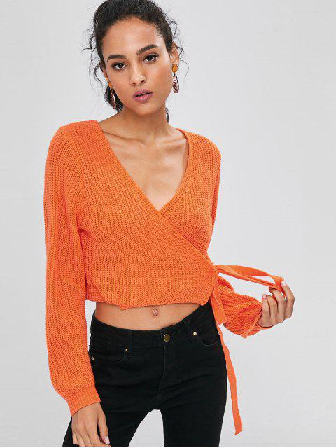 Wrap Tie Up Cropped Sweater - Orange vif L Mobile