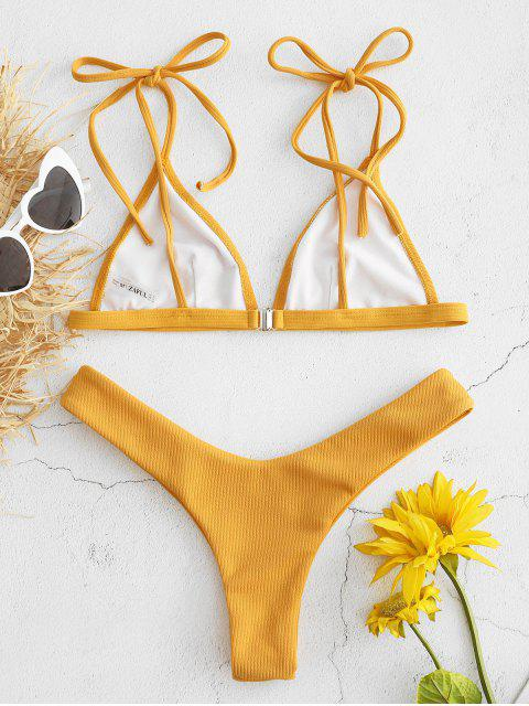 Geripptes Bralette Bikini-Set - Helles Gelb L Mobile
