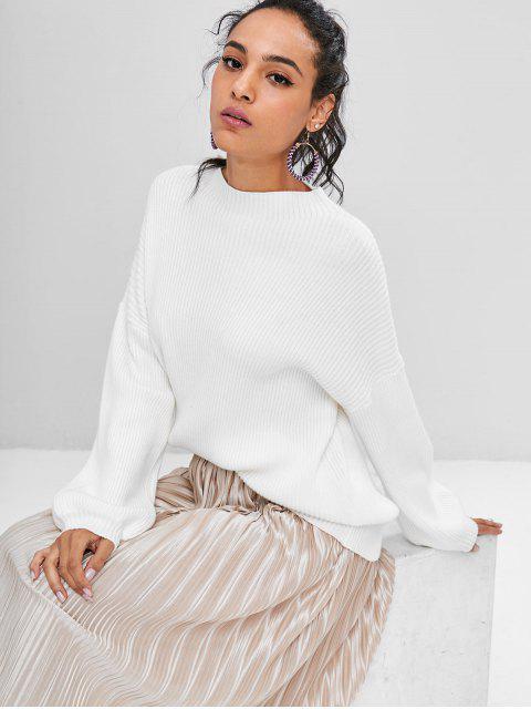 Lantern Sleeves Gerippter Pullover - Weiß Eine Größe Mobile