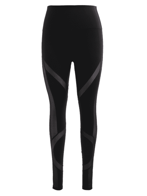 Hohe Taille Netz Ensatz Trainingsgamaschen - Schwarz S Mobile