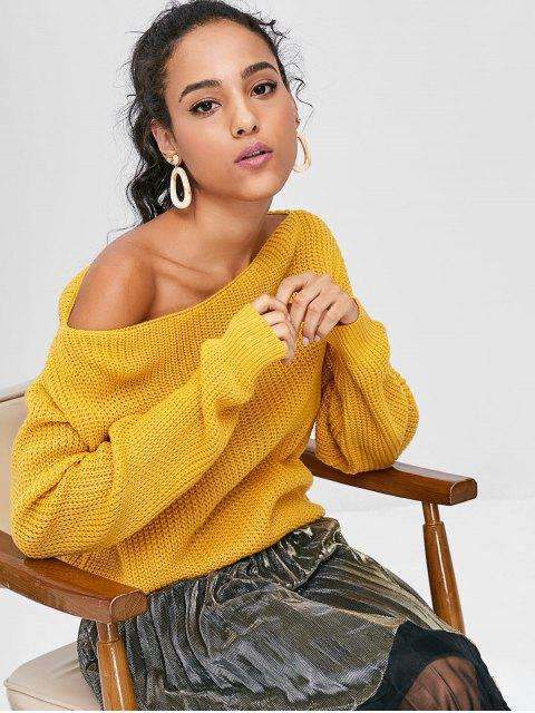 womens ZAFUL Relaxed Slash Neck Sweater - BEE YELLOW M Mobile