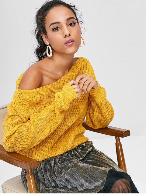 women ZAFUL Relaxed Slash Neck Sweater - BEE YELLOW L Mobile