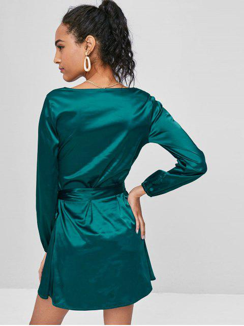 unique Long Sleeve Wrap Mini Satin Dress - GREENISH BLUE S Mobile