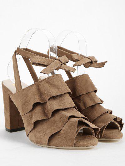 Tira no tornozelo Chunky Heel Ruffles Sandálias Peep Toe - Deep Brown 36