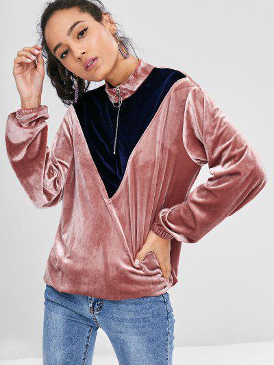 Two Tone Velvet Sweatshirt - Khaki Rose M