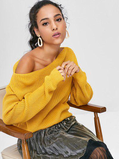 ZAFUL Relaxed Slash Neck Sweater - Bee Yellow S