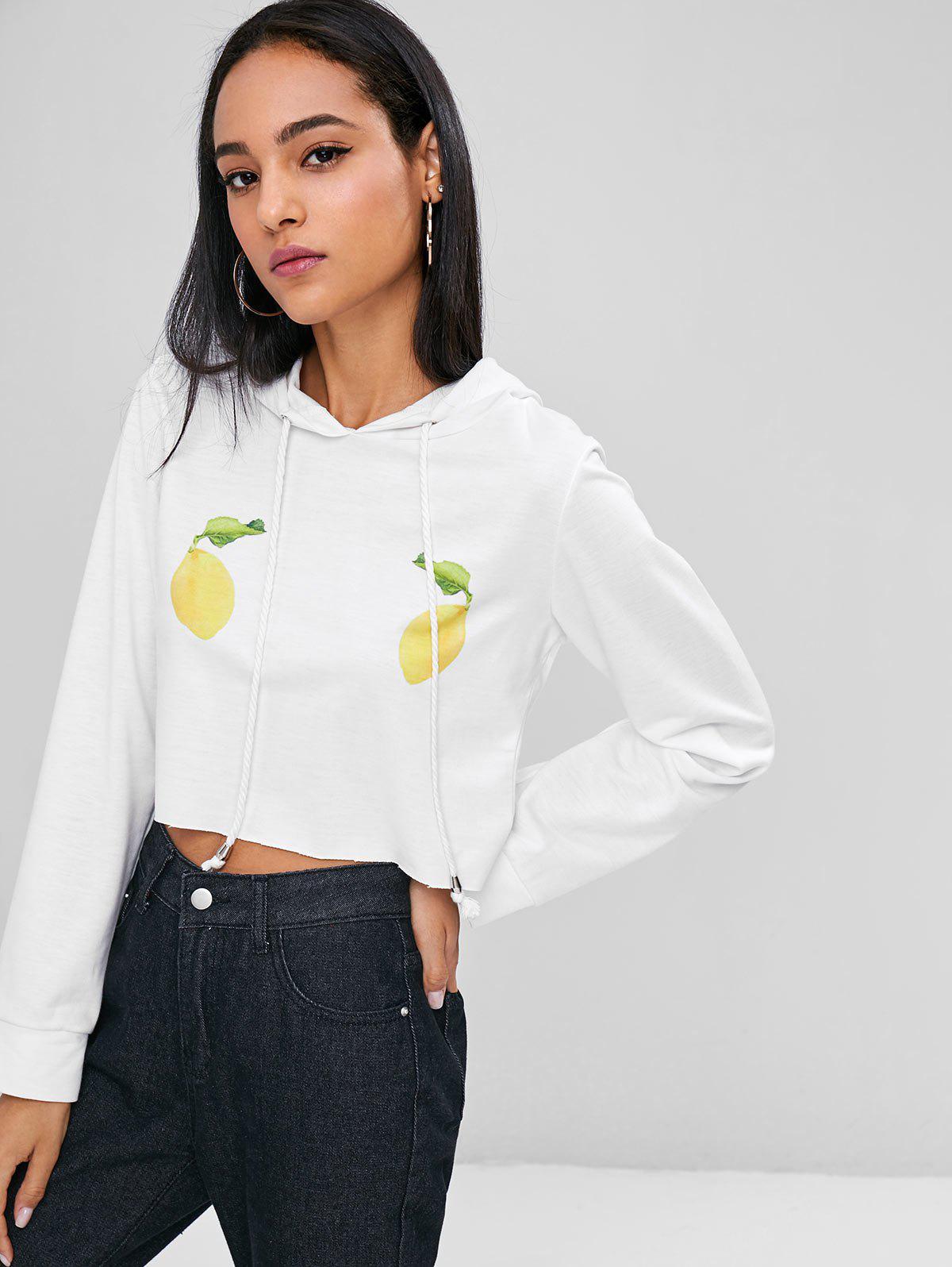 Lemons Graphic Crop Hoodie