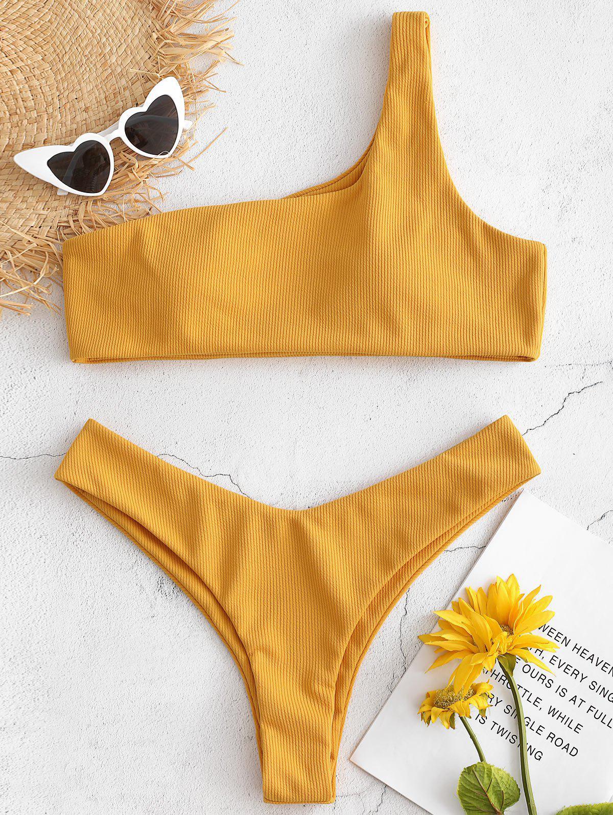 Plus Size Ribbed One Shoulder Bikini Set 274559802