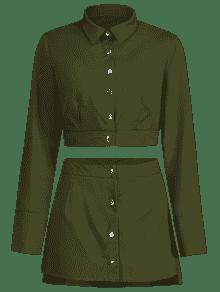 Conjunto Botones De Falda Con Y Verde S Camisa Ejercito Corta wqSn6v6fA