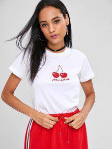 Camiseta Con Mangas Con Pu o Cherry Estampada S Blanco rqzOHr