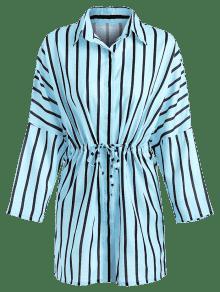 A Rayas Con Claro Vestido Azul Botones Casual L PqHSApw