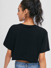 Estampado Dobladillo De Con Negro Estampada Camiseta S q0SPf4