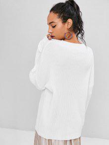 Ribbed Blanco Sleeves Sweater Ribbed Lantern Sweater Blanco Sleeves Lantern Lantern PwfqP6g