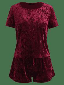 Pantalones De Conjunto De Terciopelo Tinto S Triturado Vino Bowknot Cortos SPw5wqT