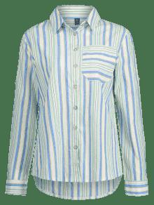 Camisa Con Multicolor De S Rayas Bolsillo paSFqprnw