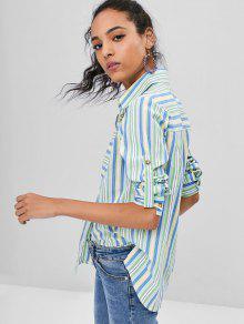 Rayas Camisa De Bolsillo Multicolor Con S RzAq4