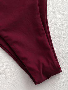 2x Alta Entallado De Conjunto Tinto Vino Grande Talla Bikini Pierna De ZvvOHnA