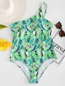 النخيل ورقة واحدة الكتف ملابس السباحة - الغريبة الخضراء S