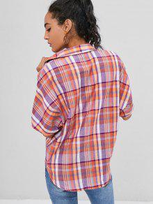 S A Botones Camisa Multicolor Con Cuadros 6qpYZ7