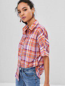 S Camisa Cuadros A Con Botones Multicolor FYRvxqRcXw