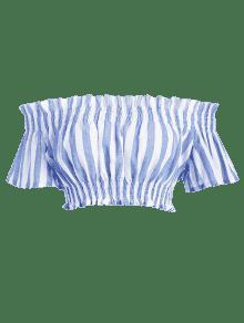 Con Cintura A Recortado Hombros Top S Descubiertos La Ligero Acero Azul w5qI1t