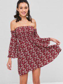 قبالة الكتف مضيئة الأكمام فستان زهري - نبيذ احمر M