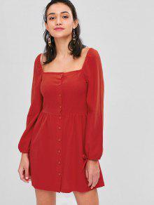 Cuello Y Botones M Vestido Redondo Rojo Con P6wcWqTp