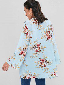 70ee3184de51e 29% OFF  2019 Open Front Floral Longline Blouse In LIGHT BLUE