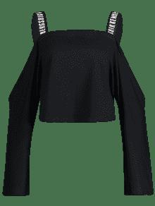 Straps Negro Cold Letra Shoulder Sweatshirt M 8xYOzP
