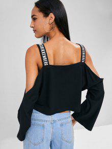 Letra Cold Shoulder Sweatshirt M Straps Negro rfxFgrw