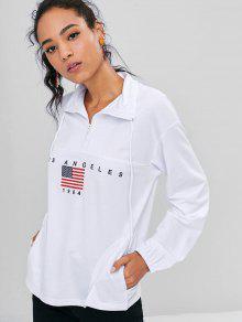American Capucha Con S Flag Blanco Half Sudadera Zip x6IT44