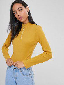 S De Brillante Mitad Con Amarillo Camiseta Cremallera 8fwRF7nq