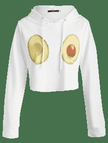 Frutas De S Capucha Con Con Estampado Sudadera Blanco wxCaZqpIXn