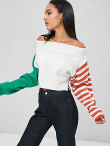 Stripes Off Blanco Slit S Sweater Shoulder 4v4wr