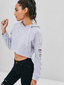 S Destroyed Claro Gris Hoodie Cropped qAwgB