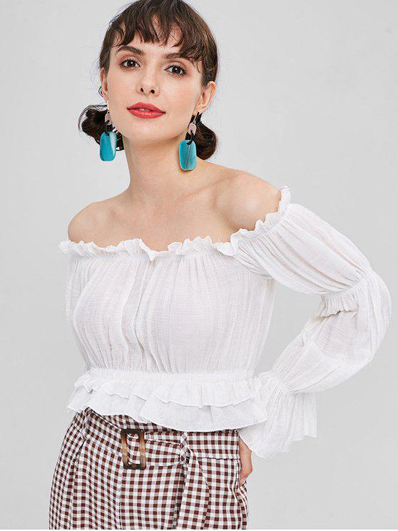 b2517bd65951d 30% OFF  2019 Cropped Frilled Off Shoulder Top In WHITE