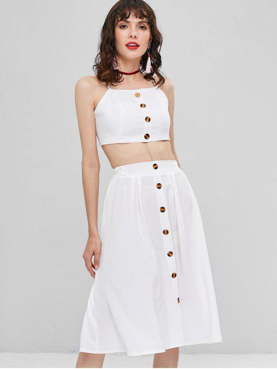 a4185bcf244b 28% OFF  2019 Buttoned Two Piece Dress In WHITE
