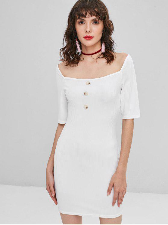 affordable Buttoned Ribbed Bodycon Dress - WHITE L