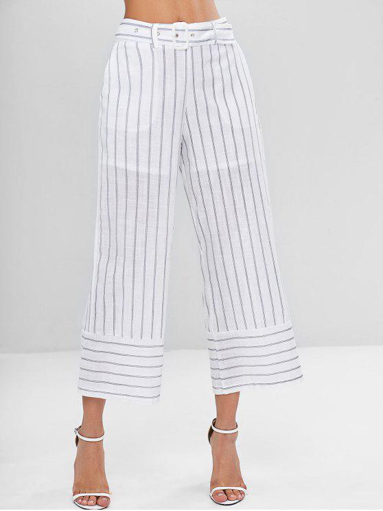 Pantalon Corsaire Ceinturé et Rayé - Blanc M