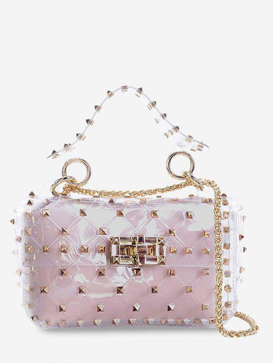new 2 Pieces Lucid Rivet Jelly Crossbody Bag Set - LIGHT PINK HORIZONTAL
