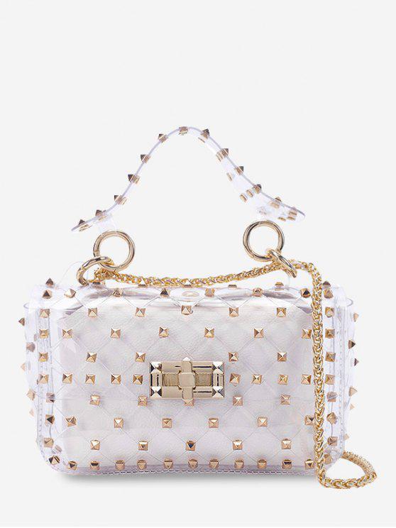 hot 2 Pieces Lucid Rivet Jelly Crossbody Bag Set - WHITE HORIZONTAL