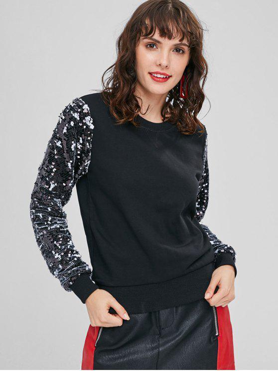 womens Sequined Crew Neck Sweatshirt - BLACK M