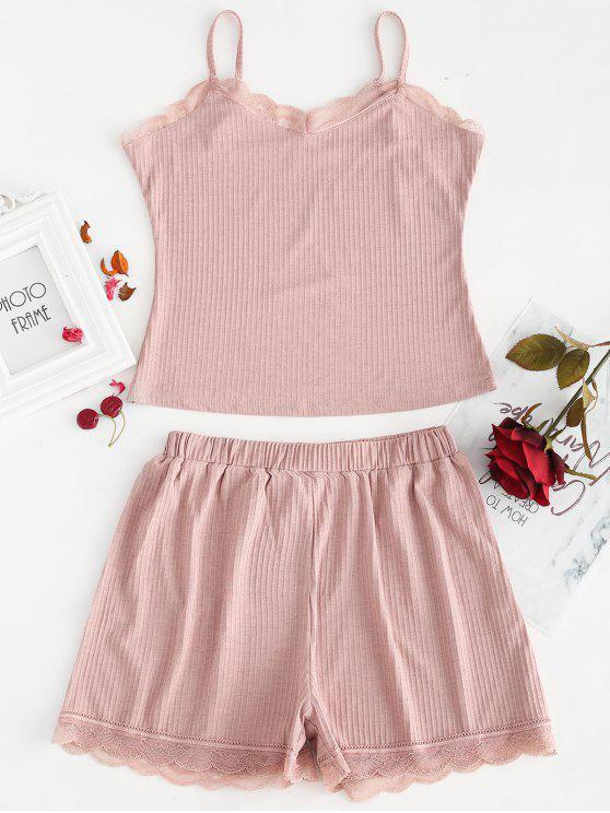shop Ribbed Cami Top and Shorts Pajama Set - PINK ROSE S