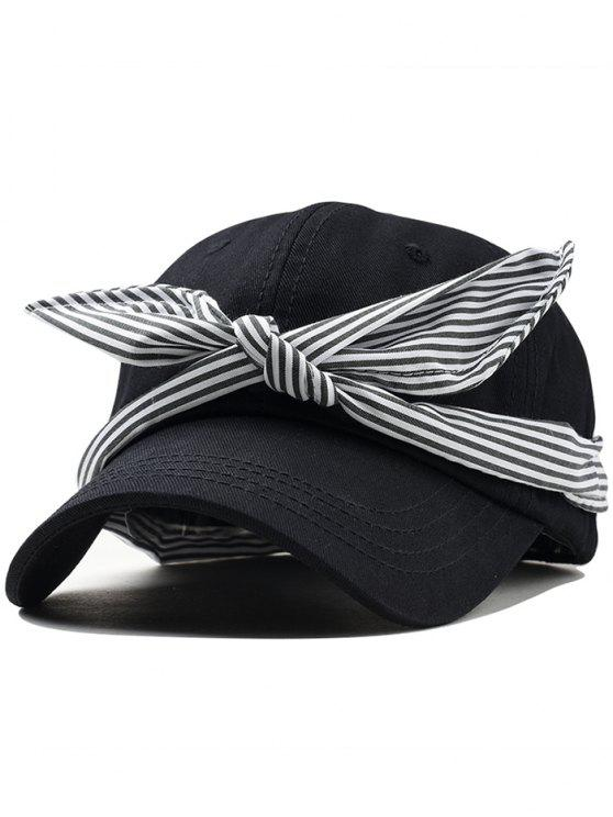fashion Ribbon Bow Adjustable Baseball Cap - BLACK