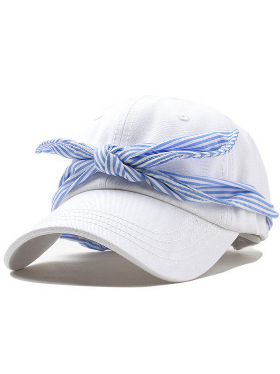 chic Ribbon Bow Adjustable Baseball Cap - WHITE