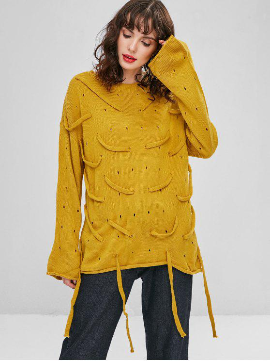 women's Strappy Openwork Oversized Sweater - GOLDEN BROWN ONE SIZE