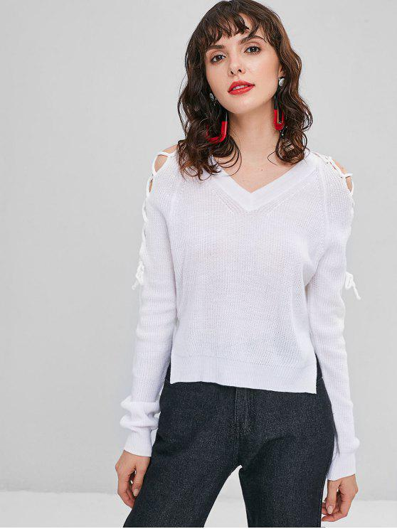 fancy Lace-up High Low Sweater - WHITE XL